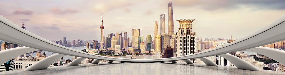 modern city skyline and cityscape in Shanghai, China