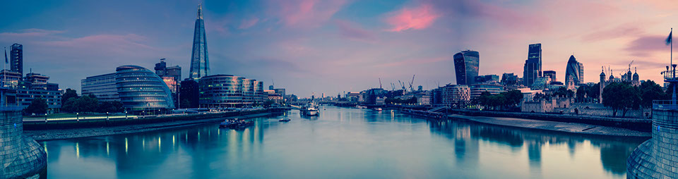 Panoramic view on London and Thames at twilight, from Tower Bridge